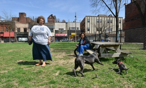 Sharon Newsom and Nelwyn Carley watch their dogs play in the dog park