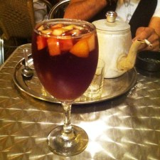 Sangria (for me), Damby's Turkish coffee in the background