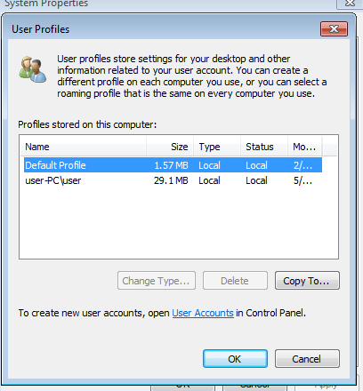 Launch 'Configure advanced user profile properties' from Command Prompt