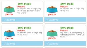 4 High Value $10/1 Dog & Cat Food Pet Coupons