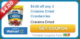 High Value $4/2 Craisins Dried Cranberries Coupon