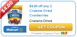 High Value $4/2 Craisins Dried Cranberries Coupon