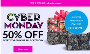 Vera Bradley – 50% Off Sale + Buy 1 Get 1 50% Off Stocking Stuffers + FREE Shipping (Ends November 29th)