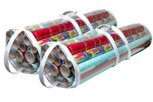 Set of 2 Gift Wrapping Paper Clear Organizers Bag With Handles $11.99