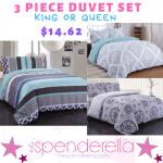 HOT Deal!  3 Piece Duvet Cover Set $14.62– King or Queen