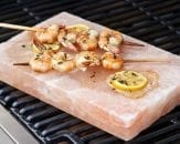 medium himalayan salt block on the bbq with prawns