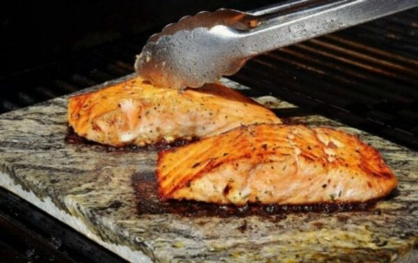 salmon grilled on the bbq with smoky spices