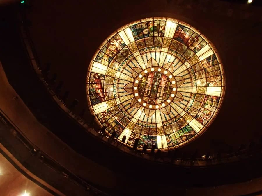 The inside of the Palacio de Bellas Artes in Mexico City, Mexico. We saw the Ballet Folklórico de Mexico perform and it was definitely something to remember! | via The Spirited Violet