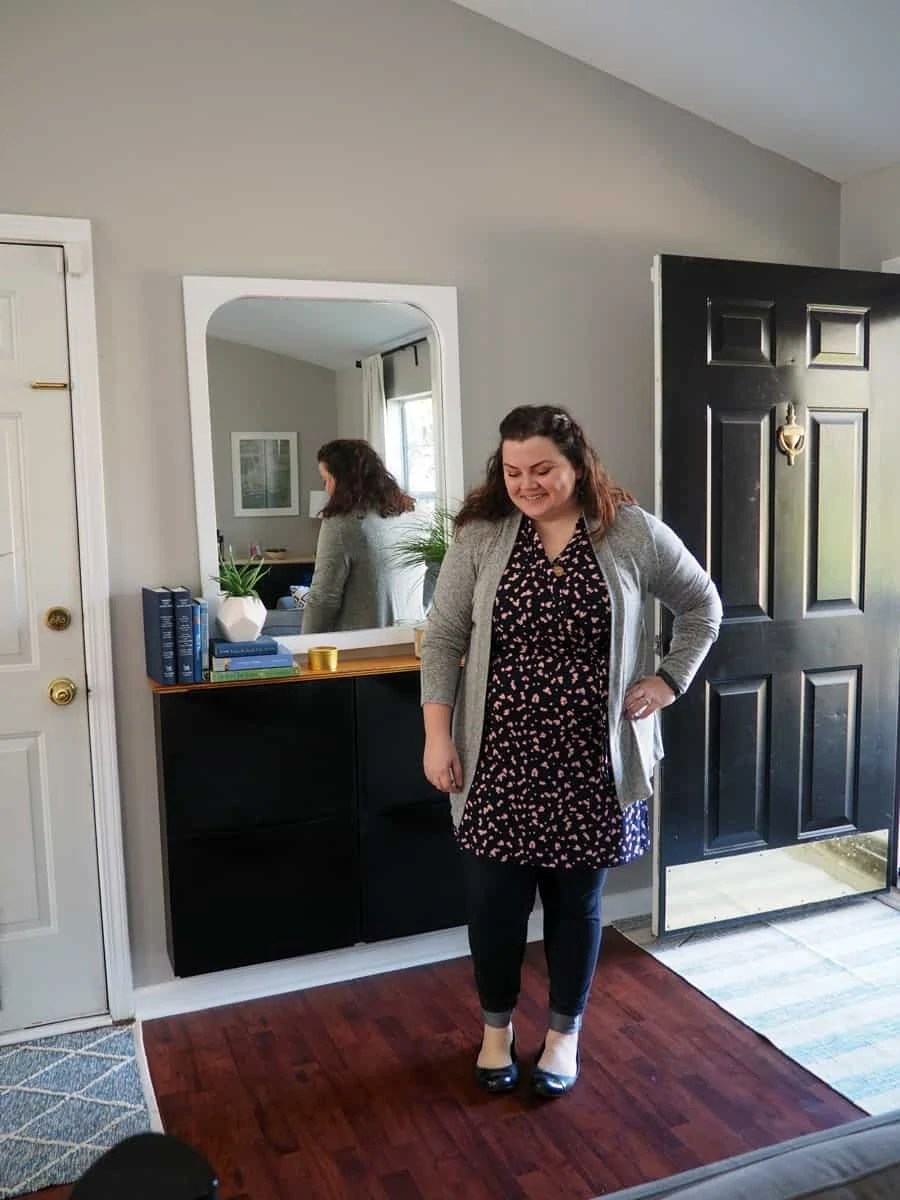 This is the adorable Bri Knit Cardigan and Theia Faux Wrap Knit Dress that I received in my Stitch Fix box in January! Absolutely love them and I've worn them out everyday since I received my box. | via The Spirited Violet