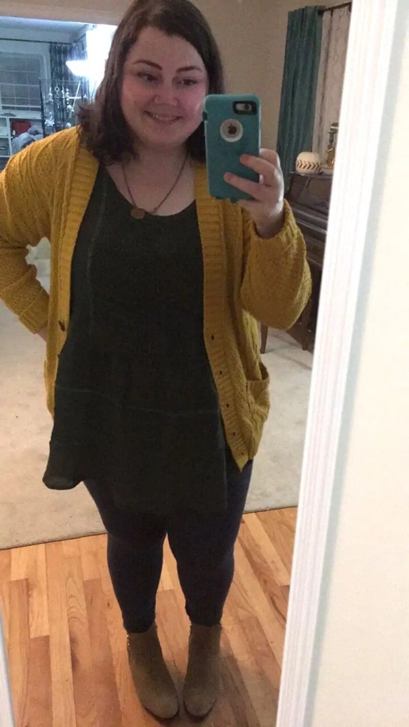 Suzanne Betro shirt + cardigan sweater from Amazon + jeggings from Walmart | via The Spirited Violet