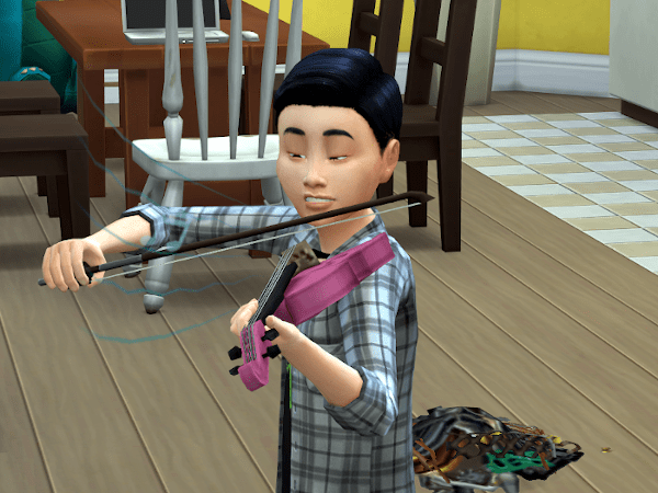 Sims child playing the violin badly