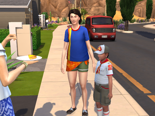 Townie sim in a weird outfit
