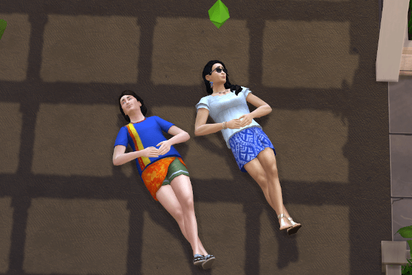 Two sims cloudgazing in a driveway