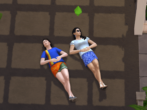 Two Sims cloudgazing in the driveway