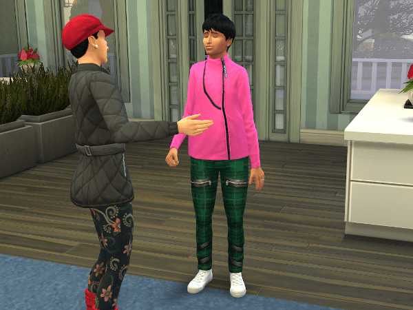 Sims 4 townie wearing a weird outfit