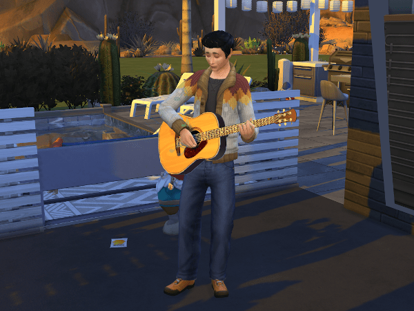 Teenage boy Sim playing acoustic guitar