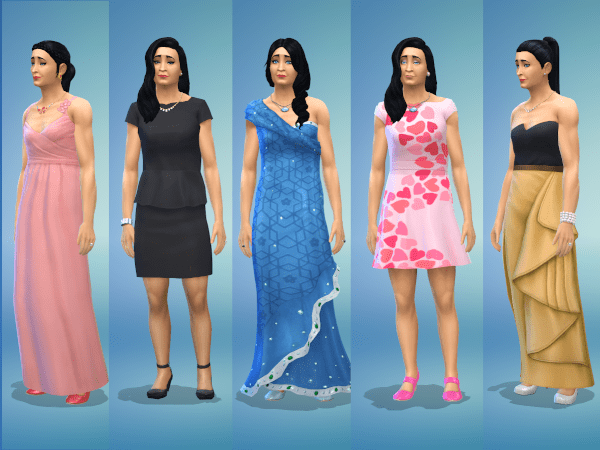 Sims 4 formal outfits for an adult female Sim