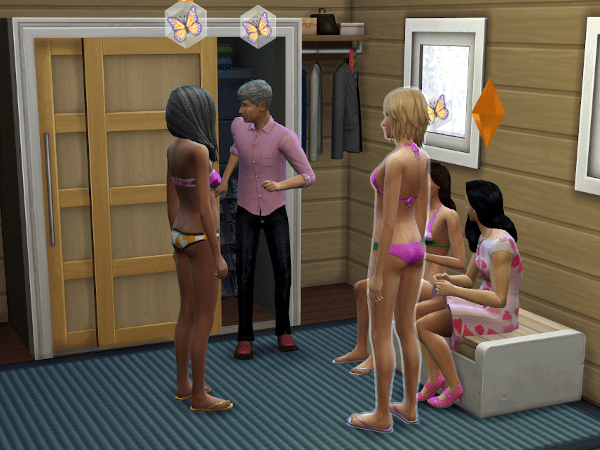 Sims 4 Paragons club trying on outfits