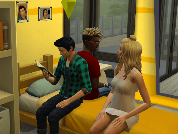 Sims studying at college