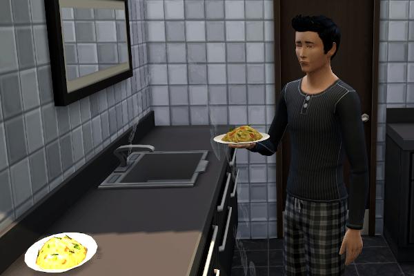 Sim eating pasta in the bathroom