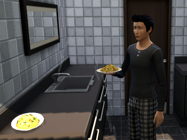 Sim eating goopy carbonara in the bathroom