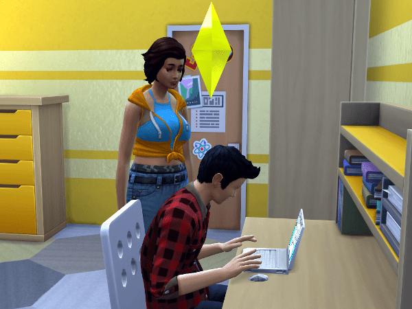 Discover University sim doing college homework