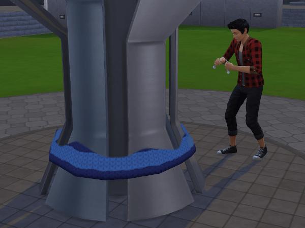 Sim yarnbombing college statue