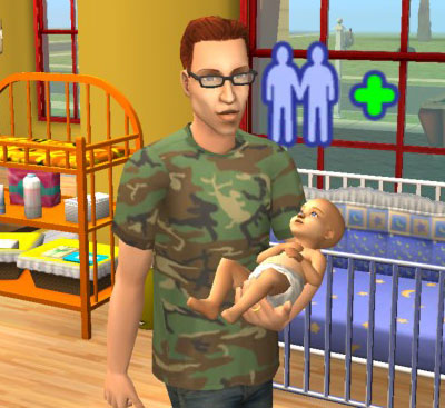 Sims 2 father carrying his infant son