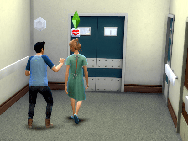Sim about to give birth at the hospital