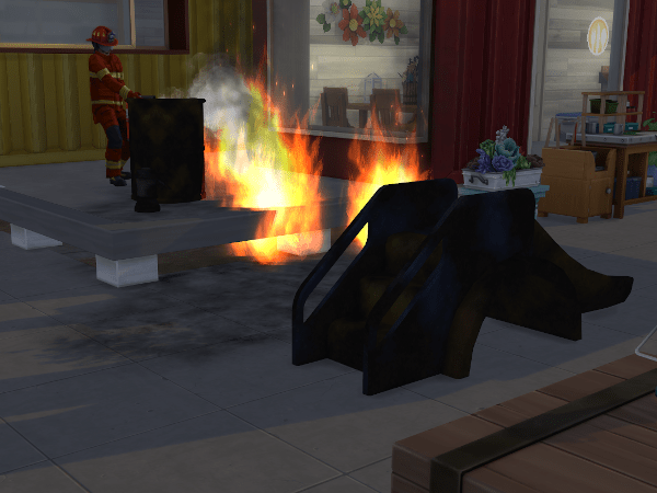 Fire on industrial lot Sims 4