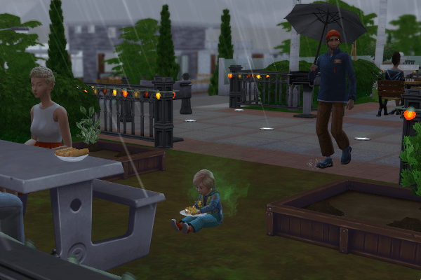 Sim toddler eating alone in the rain in a park