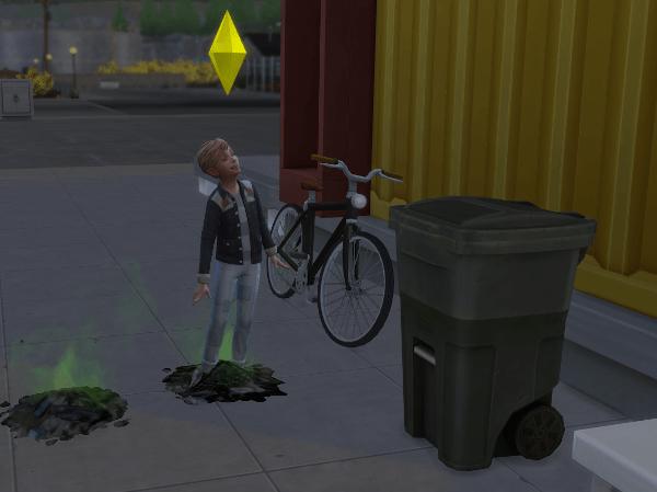 Sim child playing in garbage