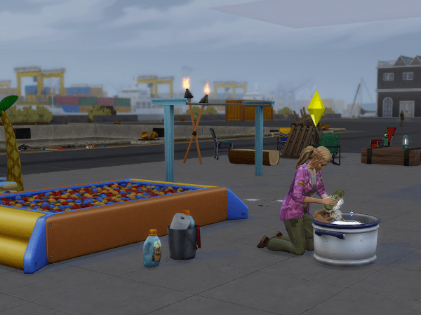 Sim doing laundry off-grid