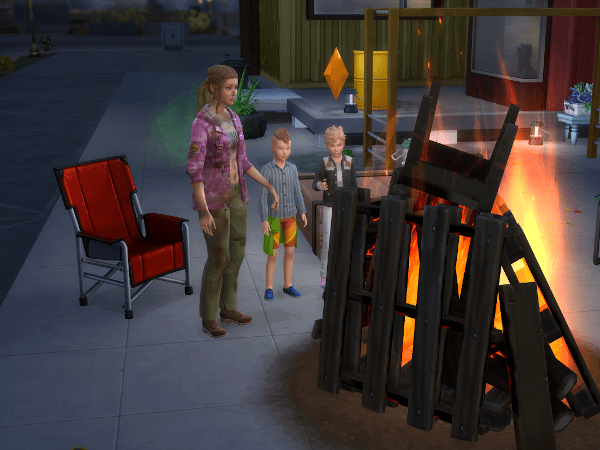 Sims family shipping pallet bonfire