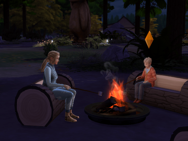 Sims enjoying a camp fire in Granite Falls Outdoor Retreat