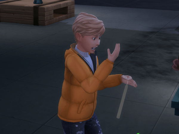 Sim burned hand making candles