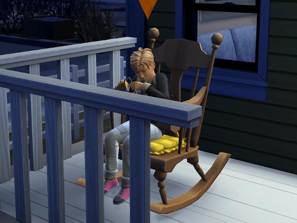 Sim child knitting