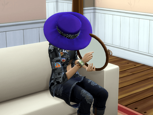 Sims 4 Cottage Living learning to cross stitch