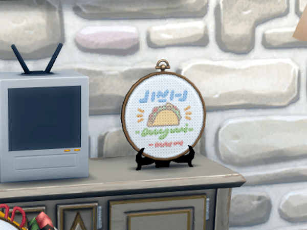 Sims 4 Cottage Living cross stitch Taco Tuesday