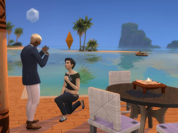 Sims 4 Sulani sunset marriage proposal