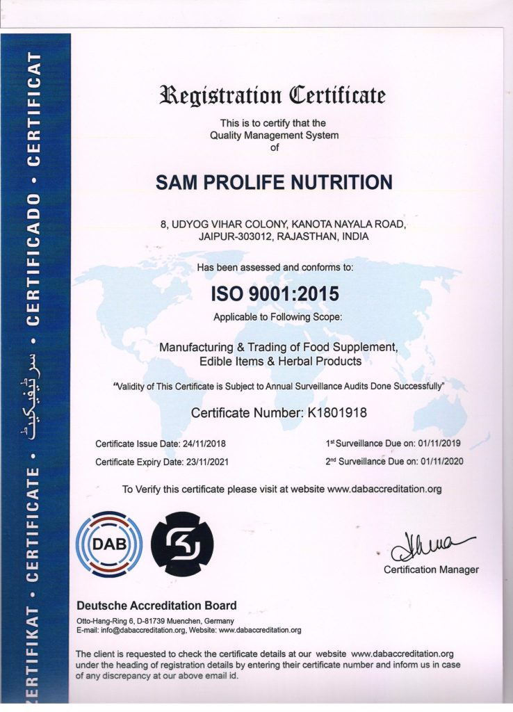 sam prolife life ISO certifications