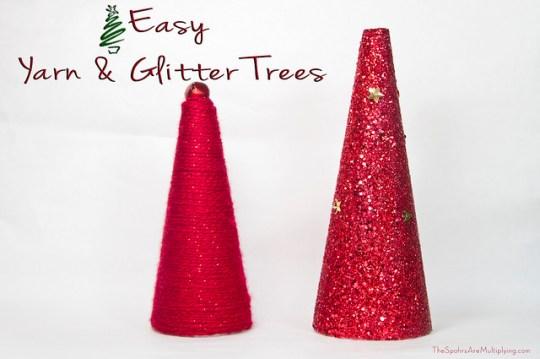 Easy Yarn & Glitter Trees