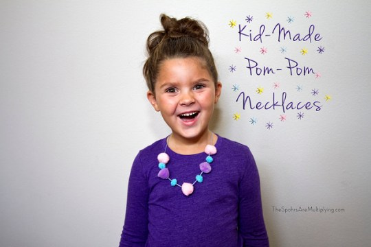 kid-made pom-pom necklaces