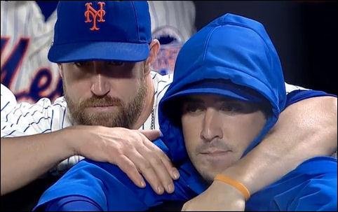 John Buck comforts Matt Harvey after finding out Harvey needs TJ surgery.