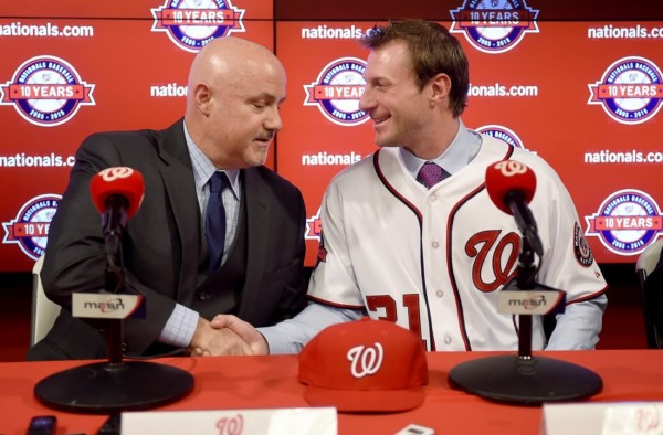 New Nationals acquisition Max Scherzer thanks General Manager Mike Rizzo at his introductory news conference Wednesday. (Jonathan Newton / The Washington Post)