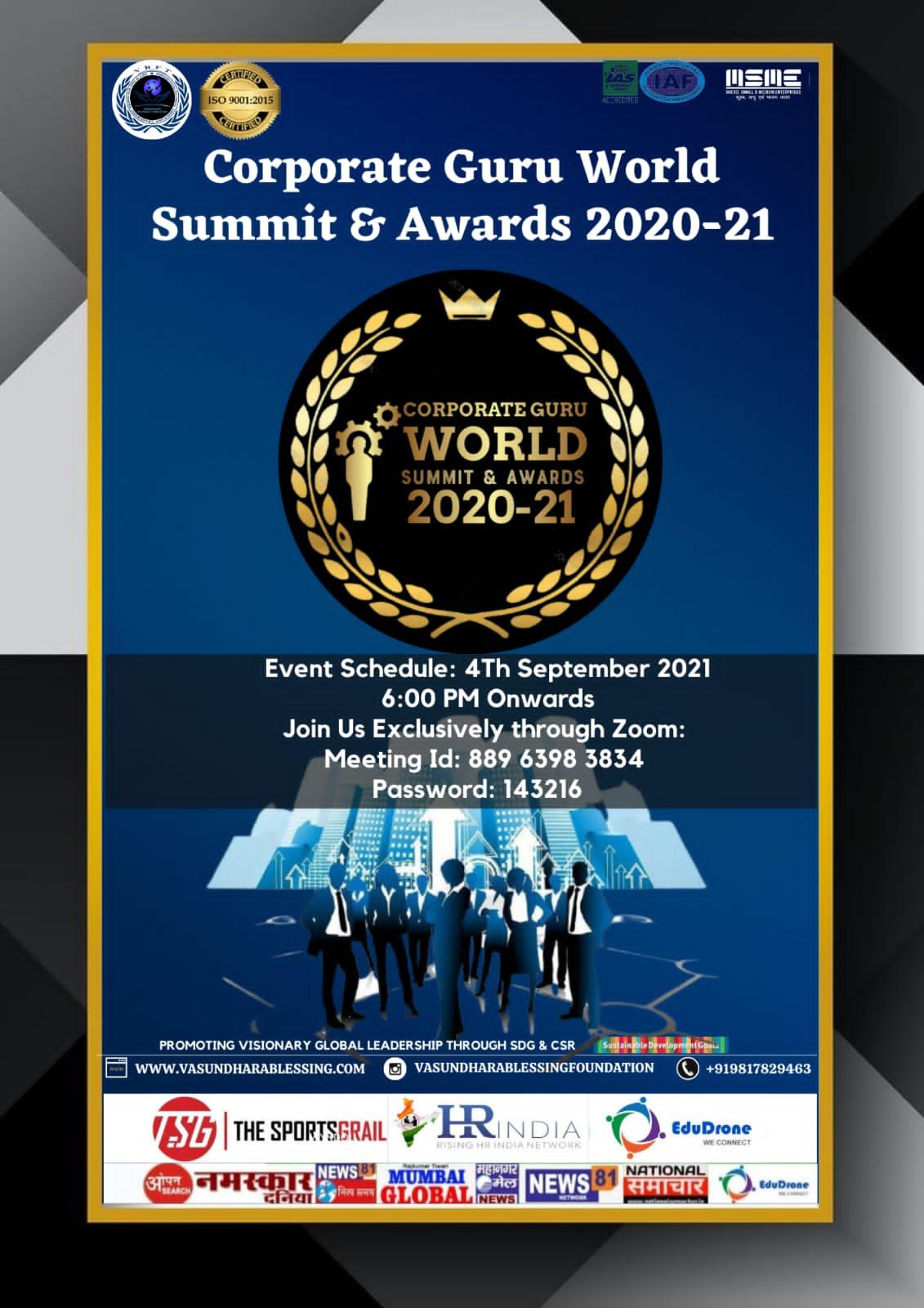 Corporate Guru World Summit And Awards 2021, 4th September