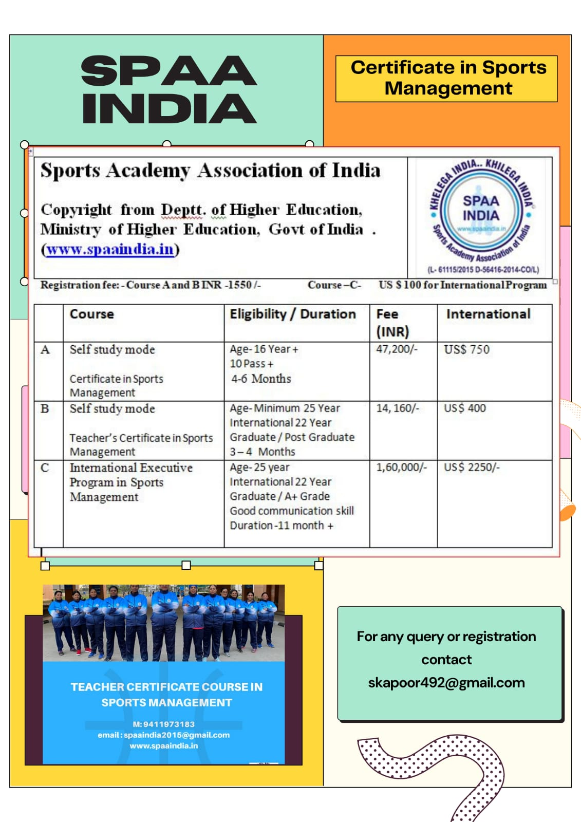 Sports Academy Association of India (SPAA): Architect For Developing Sports Education In India