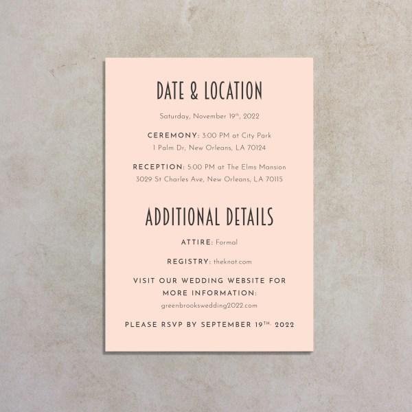 back of blush pink art deco wedding invitation