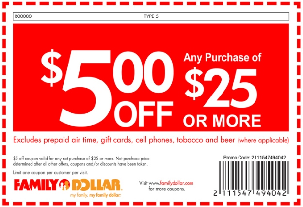 Family Dollar 5 Off Coupon
