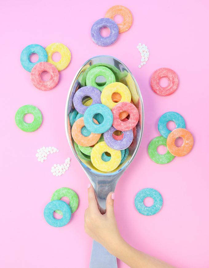 froot loop sugar cookies on giant spoon